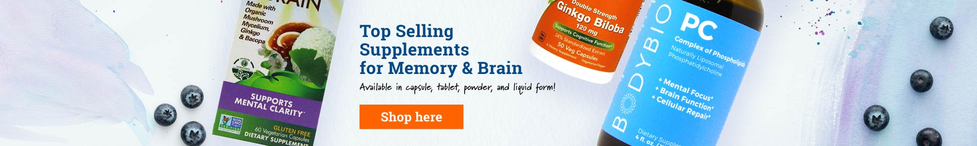 Top Selling Supplements for Memory & Brain - Available in capsule, tablet, powder, and liquid form! Shop here.